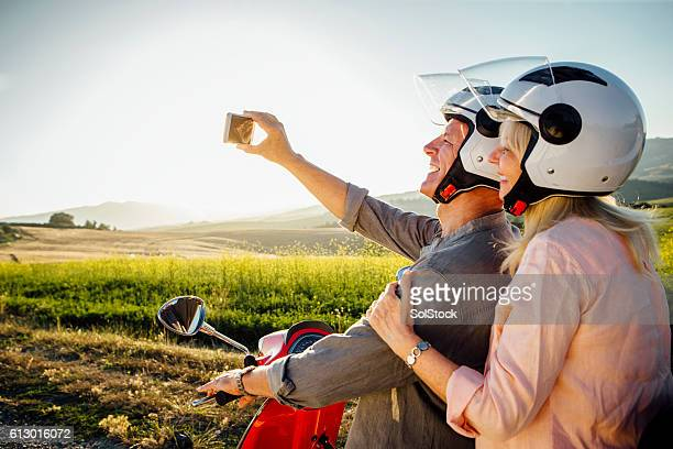 moped selfie - moped stock photos and pictures