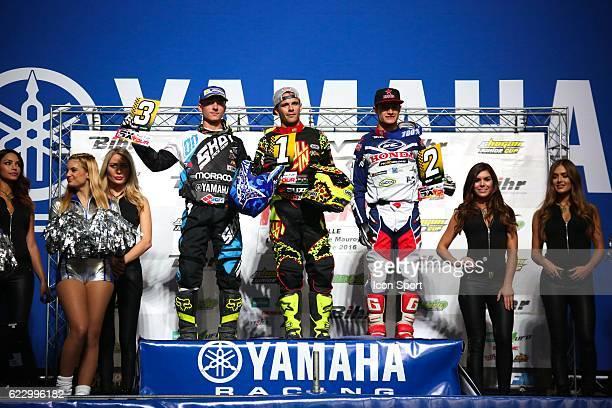 2B Moraco Yamaha's rider Yannis IRSUTI of France and JPM Racing Suzuki's rider Florent RICHIER of France and SR Motoblouz Honda's rider Thomas DO of...