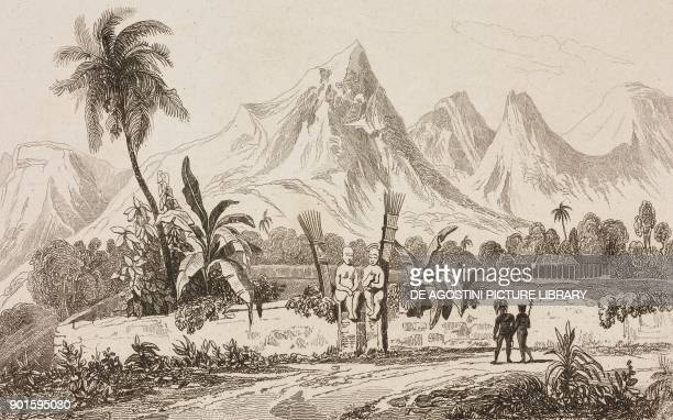Morai in Nuku Hiva Marquesas Islands Polynesia engraving by Danvin and Boys from Oceanie ou Cinquieme partie du Monde Revue Geographique et...