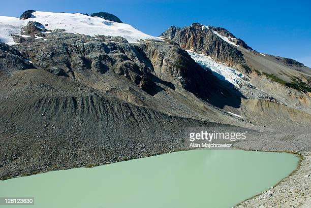 Moraine and terminal lake at the head of Salal Creek, Coast Range, British Columbia, Canada