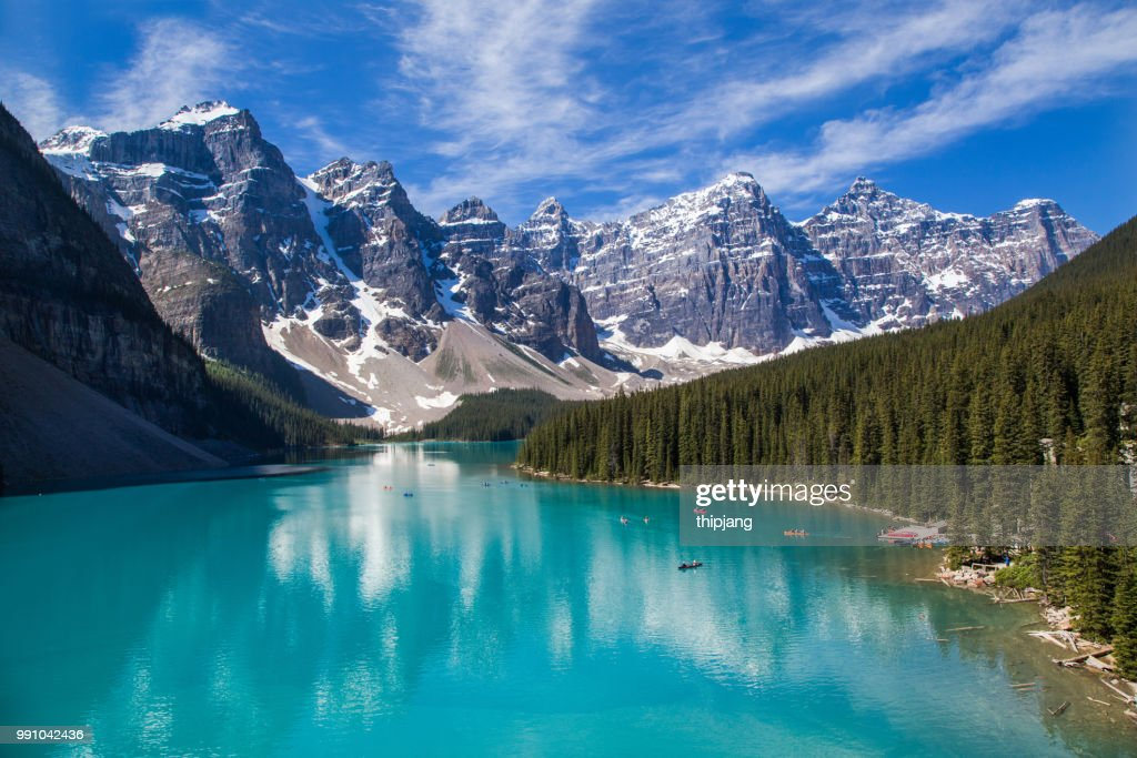 Moraine Lake and the valley of the ten peaks in the Canadian Rockies : Stock Photo