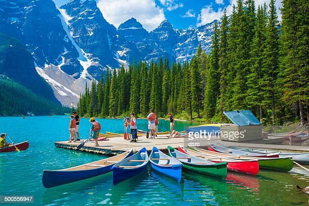 Moraine Lake, Banff, mountains, canoes, tourists, National Park, Alberta, Canada