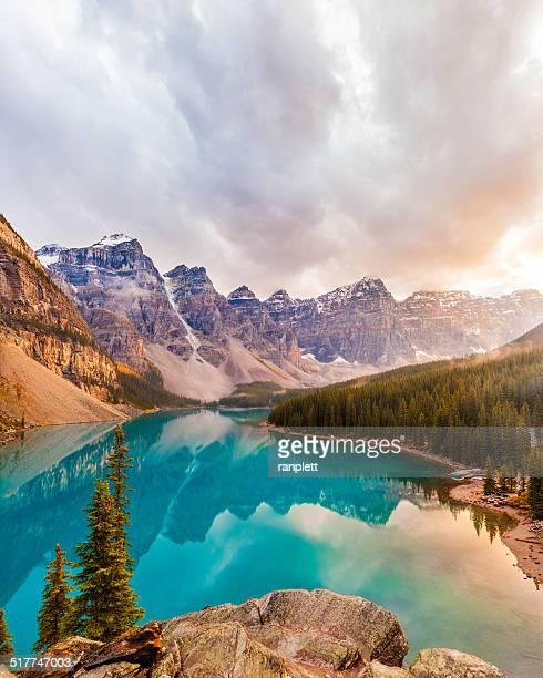 moraine lake, banff national park - vertical stock pictures, royalty-free photos & images