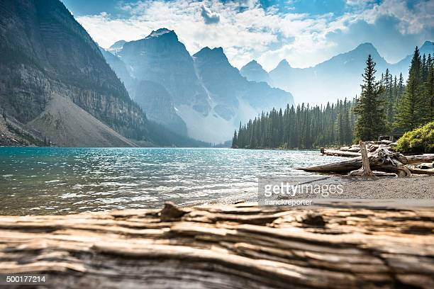 moraine lake in banff national park - canada - landscape scenery stock photos and pictures