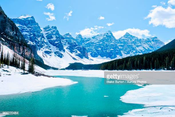 moraine lake in winter, banff national park, canada - banff national park stock pictures, royalty-free photos & images