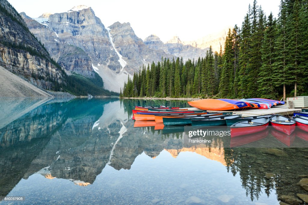 Moraine Lake Lodge Conoes High Res Stock Photo Getty Images