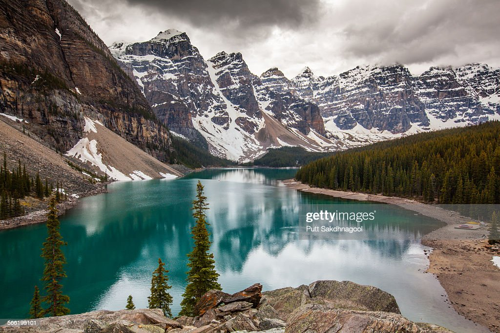 Moraine Lake on cloudy day : Stock Photo