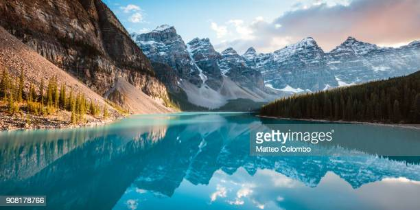 moraine lake panoramic, banff, canada - majestic stock pictures, royalty-free photos & images
