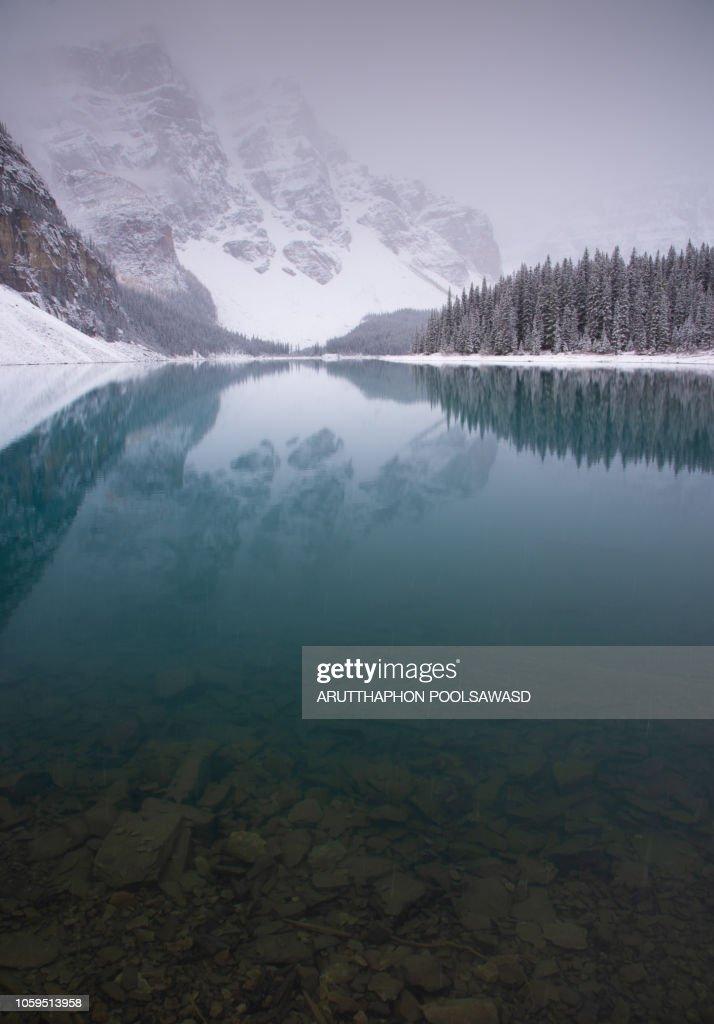 Moraine Lake Valley Of Ten Peak In Winter Banff National