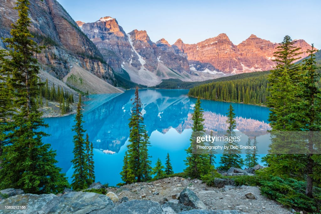 Moraine Lake with Alpen Glow on Ten Peaks Banff National Park Canada : Stock Photo