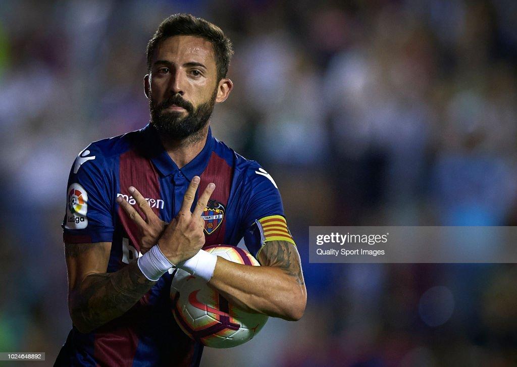 Morales of Levante celebrates a goal during the La Liga match between Levante UD and RC Celta de Vigo at Ciutat de Valencia on August 27, 2018 in Valencia, Spain.