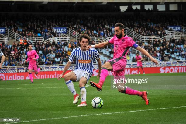 Morales of Levante duels for the ball with Alvaro Odriozola of Real Sociedad during the Spanish league football match between Real Sociedad and...