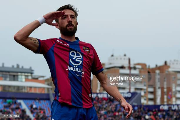 Morales of Levante UD celebrates after scoring during the La Liga match between Levante UD and RCD Espanyol at Ciutat de Valencia on March 4 2018 in...