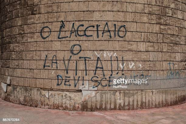 Morales 'or steel or life' in District Tamburi in Taranto Italy on November 29 2017 The schools closed for two days in the neighborhood closest to...
