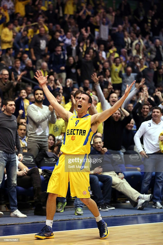Moran Roth, #9 of Maccabi Electra Tel Aviv in action during the 2012-2013 Turkish Airlines Euroleague Top 16 Date 3 between Maccabi Electra Tel Aviv v Fenerbahce Ulker Istanbul at Nokia Arena on January 10, 2013 in Tel Aviv, Israel.