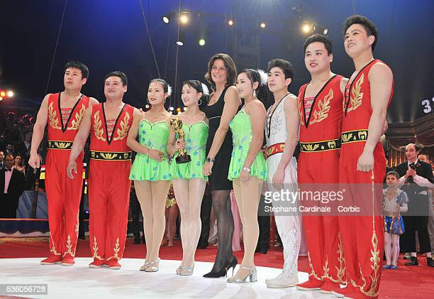 Moranbong Circus of Pyongyang North Korea with the Golden Clown Award presented by Princess Stephanie of Monaco at the closing ceremony of the 33rd...