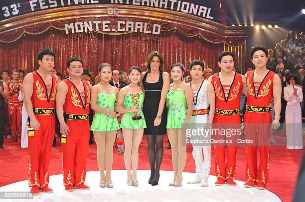 Moranbong Circus of Pyongyang North Korea with their Golden Clown Award presented by Princess Stephanie of Monaco at the closing ceremony of the 33rd...