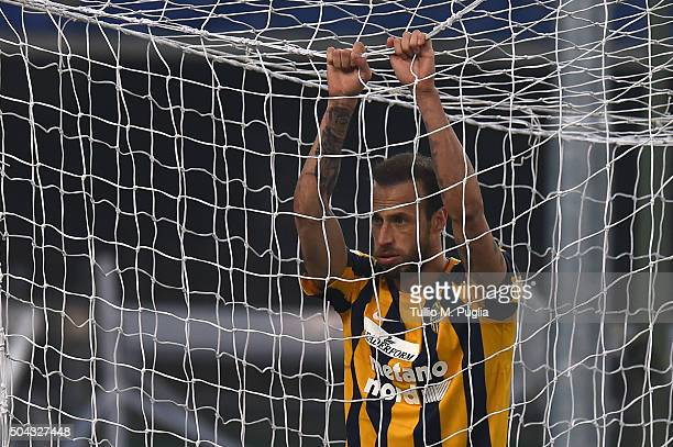 Moras Evangelos of Hellas Verona shows his dejection during the Serie A match between Hellas Verona FC and US Citta di Palermo at Stadio Marc'Antonio...