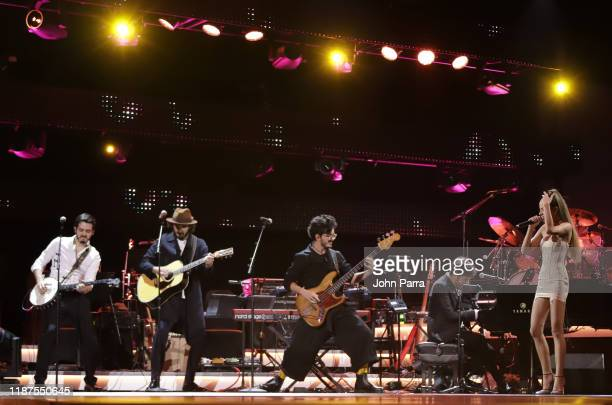 Morat and Cami perform onstage during the Latin Recording Academy's 2019 Person of the Year gala honoring Juanes at the Premier Ballroom at MGM Grand...