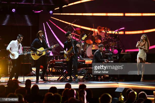 Morat Pablo Lopez and Cami perform onstage during the Latin Recording Academy's 2019 Person of the Year gala honoring Juanes at the Premier Ballroom...
