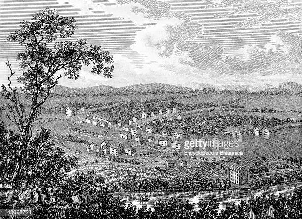 Moravian Settlement At Bethlehem Pennsylvania View Of The Moravian Settlement At Bethlehem Pennsylvania Denominations And Sects From All Of Europe...