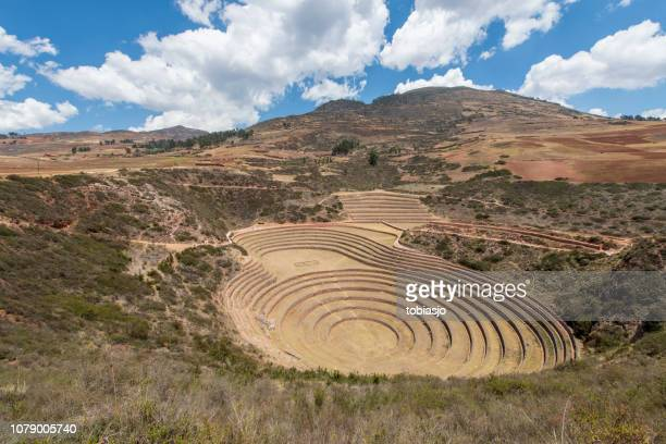 moray inca ruins in sacred valley, peru - inca stock pictures, royalty-free photos & images