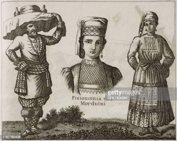 Mordvin man Physiognomy of the Mordvins Mordvin woman Northern Asia lithograph from Galleria universale di tutti i popoli del mondo ossia storia dei...