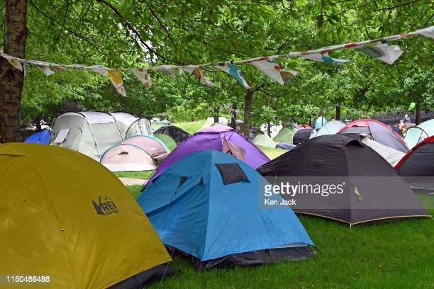 More and more tents appear in the Holyrood Rebel Camp outside the Scottish Parliament set up by Extinction Rebellion climate change protestors as...