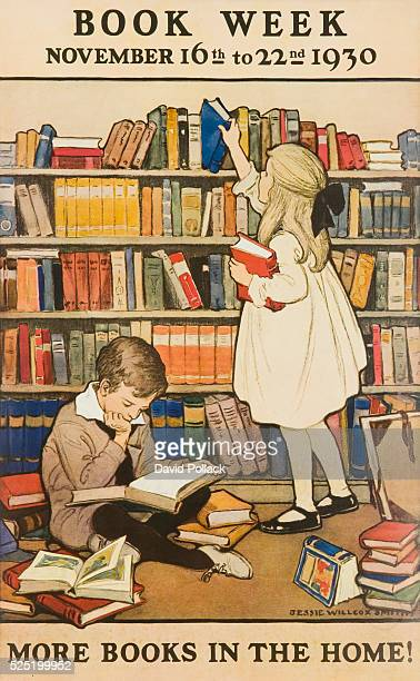 More Books in the Home illustrated by Jessie Willcox Smith 1930 Children's Book Week poster showing young boy and girl in home library choosing and...