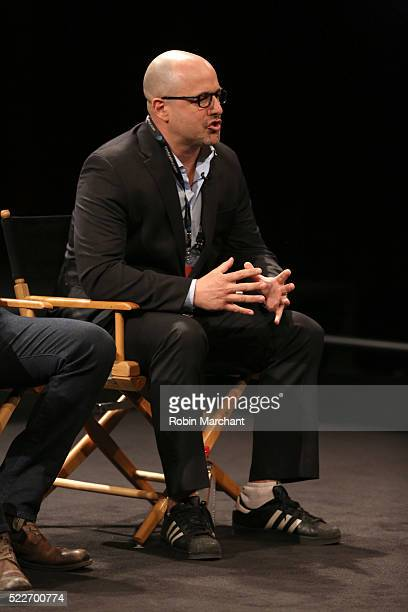 More Perfect Union Director Eric Drath speaks on stage Tribeca Talks After The Movie Elections and Scandal at SVA Theatre 2 on April 20 2016 in New...