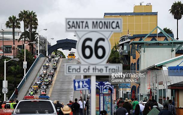 More than 100 Irish motorcyclists arrive at the Santa Monica Pier in Santa Monica California on October 6 as part of a 2448mile Route 66 ride to...