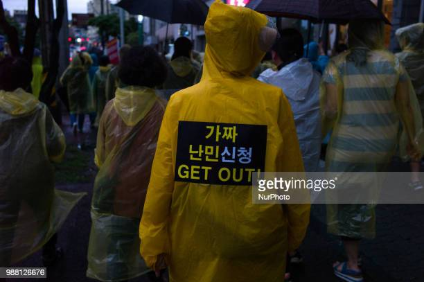 More than 100 Jeju citizens are protesting against the acceptance of Yemen refugees in front of Jeju City Hall on June 30 2018 in Jeju Island South...