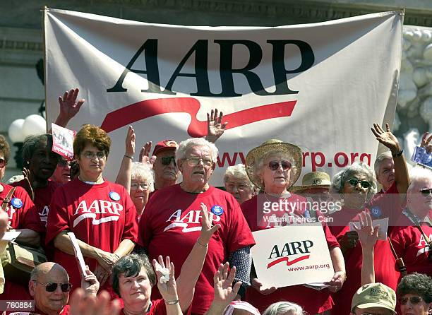 More than 1000 AARP members rally on the front steps of the State Capitol seeking the expansion of the PACE drug prescription program April 16 2002...