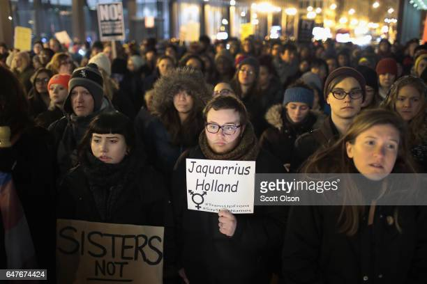 More than 1000 demonstrators protest for transgender rights with a rally march through the Loop and a candlelight vigil to remember transgender...