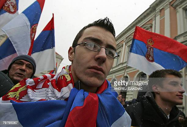 More than 1000 Serb nationalists gather for a rally in front of the Slovenian embassy in Begrade on February 16 2008 Kosovo began its longawaited...
