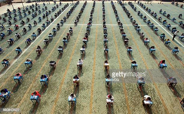 More than 1000 students take part in midterm examination at the playground of Sihuang Middle School on November 10 2011 in Wuhan China