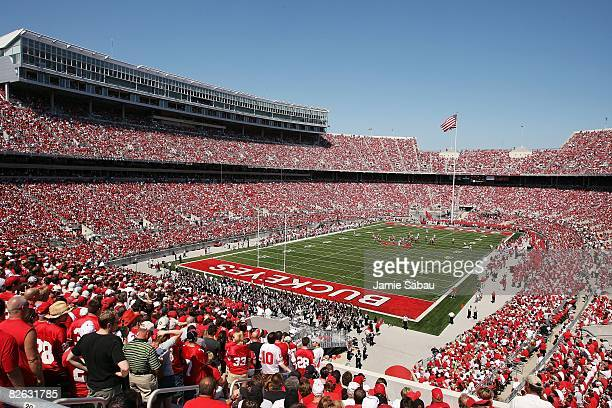 More than 105,000 people pack Ohio Stadium to see the Ohio State Buckeyes take on the Youngstown State Penguins on August 30, 2008 at Ohio Stadium in...