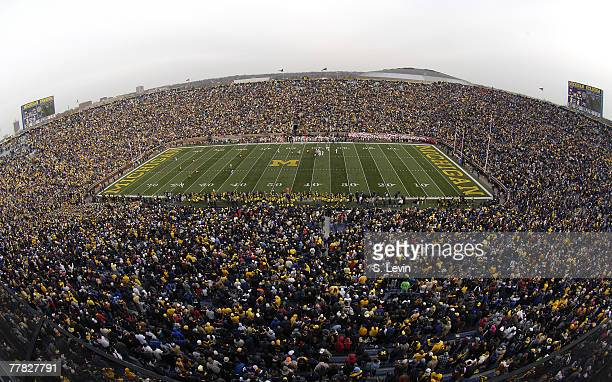 More than 109000 fans attended the game between the Ball State Cardinals and the University of Michigan Wolverines at Michigan Stadium in Ann Arbor...