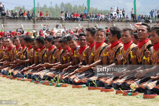 STADIUM BLANGKEJEREN ACEH INDONESIA More than 12000 male dancers perform traditional Saman dance at 1000 Bukit Stadium Gayo Lues District Aceh...