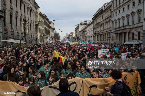 More than 150 thousand people gathered in Milan in an antiracism demonstration March 2 2019 Milan Italy