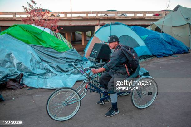 More than 200 people live at the large encampment along Hiawatha and Cedar Avenues in Minneapolis Minnesota on October 22 2018 At the tent city for...