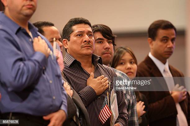 More than 2700 people are sworn in as US citizens during naturalization ceremonies on April 9 2009 in Montebello California President Barack Obama...