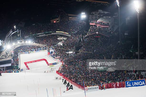 More than 42 000 spectators watching the Nightrace Slalom in Schladming.