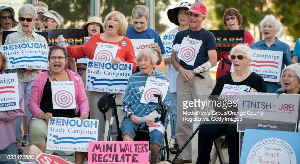 More than 50 seniors with Concerned Citizens of Laguna Woods Village protest against gun violence in front of Rep Mimi Walters' office in Irvine on...