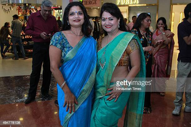 More than 50 women dressed up in sarees participate during a FirstEver Saree Flash Mob organised by Deviditi an organisation that celebrates Indian...