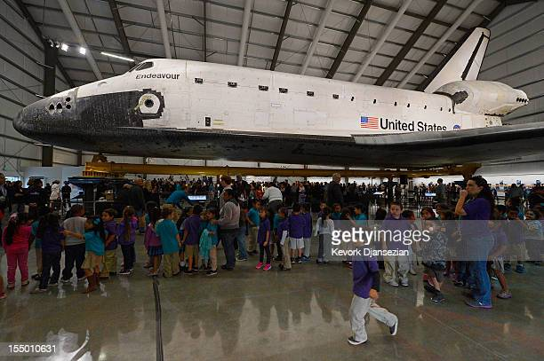 More than 500 California Science Center School students attend the space shuttle Endeavour exhibit grand opening ceremony at the new Samuel Oschin...
