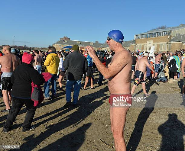 More than 600 swimmers brave the 19 degree Fahrenheit air temperature to participate in the L Street Brownies annual New Year's Day Boston Polar...