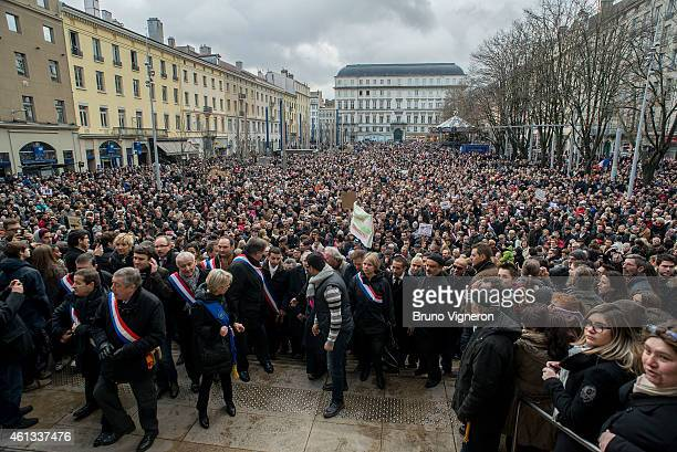 More than 60000 people one quarter of the city's population participate in the rally on January 11 2015 in Saint Etienne France An estimated one...