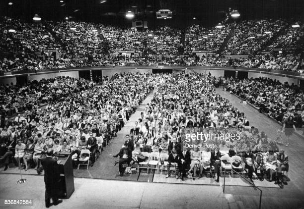 More Than 9400 Jehovah's Witnesses attended a meeting at The auditorium arena Tuesday Night Witnesses From 108 Congregations gathered to hear...