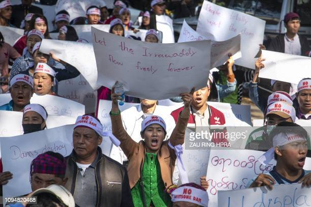 More than a thousand Myanmar demonstrators rally demanding the government to permanently stop the construction of Myitsone dam in Myitkyina capital...